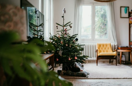 christmas tree in a living room with a little girl lying under.